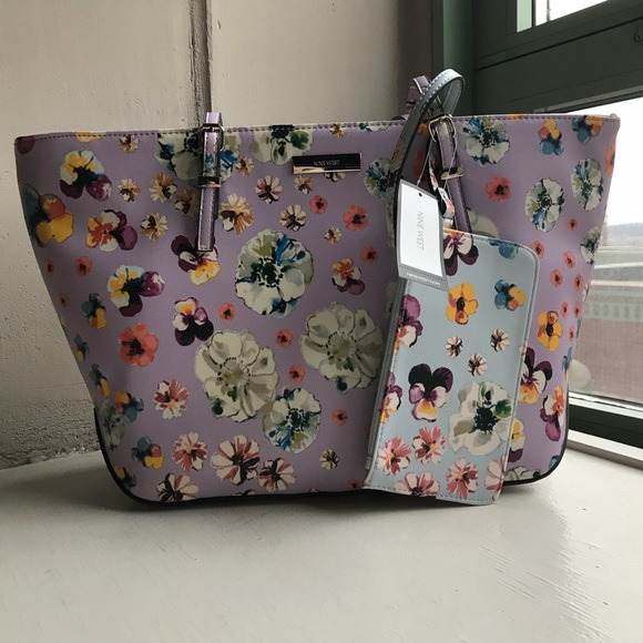 Nine West It Girl Pastel Floral Tote and Wristlet
